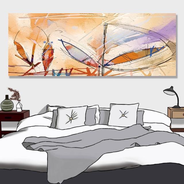 【24mama 掛畫】單聯式 油畫布 紋理 五顏六色 手繪 現代藝術 豐富多彩 充滿活力 無框畫-80x30cm(抽象繪畫)