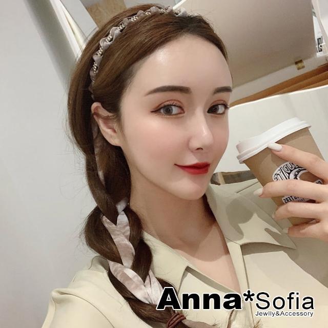 【AnnaSofia】韓式髮箍髮飾-奢鑽暈染紋綁帶(茶咖系)