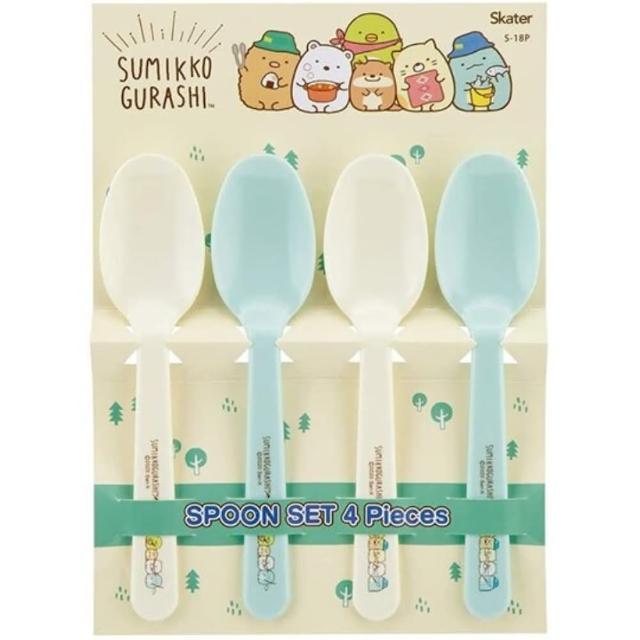【小禮堂】角落生物 日製 塑膠湯匙組 兒童湯匙 平匙 調羹 環保餐具 《4入 黃 露營》