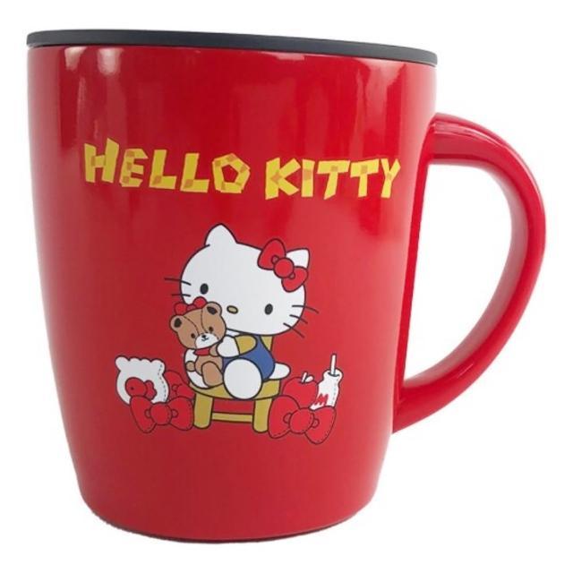 【小禮堂】Hello Kitty 單耳不鏽鋼杯 附蓋 保溫馬克杯 咖啡杯 保溫杯 380ml 《紅 小熊》