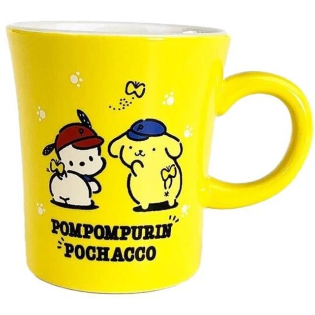 【小禮堂】Sanrio大集合 日製 陶瓷馬克杯 咖啡杯 茶杯 陶瓷杯 金正陶器 《黃 棒球帽》