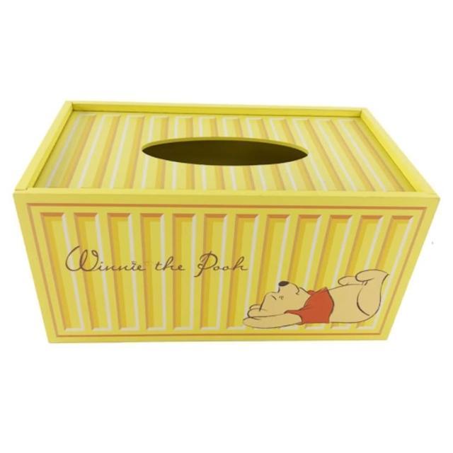 【小禮堂】迪士尼 小熊維尼 木製滑蓋面紙盒 抽取式紙巾盒 衛生紙盒 《黃 貨櫃》