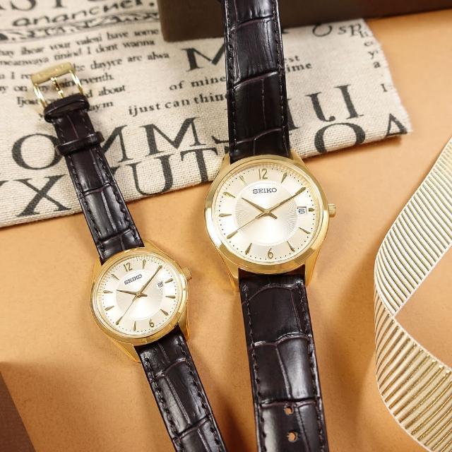 【SEIKO 精工】簡約時尚 日期 壓紋牛皮手錶 情人對錶 銀白x金框x深褐色 39mm+30mm(6N52-00D0J.6N22-00N0J)