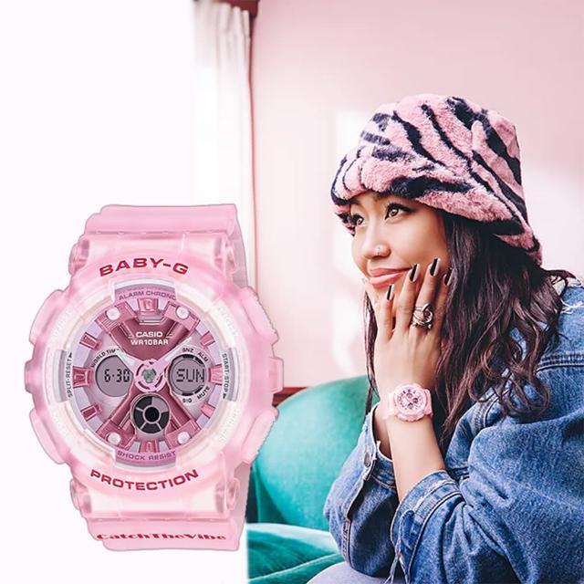 【CASIO 卡西歐】Baby-G 嘻哈復古風格半透明雙顯手錶(BA-130CV-4A)