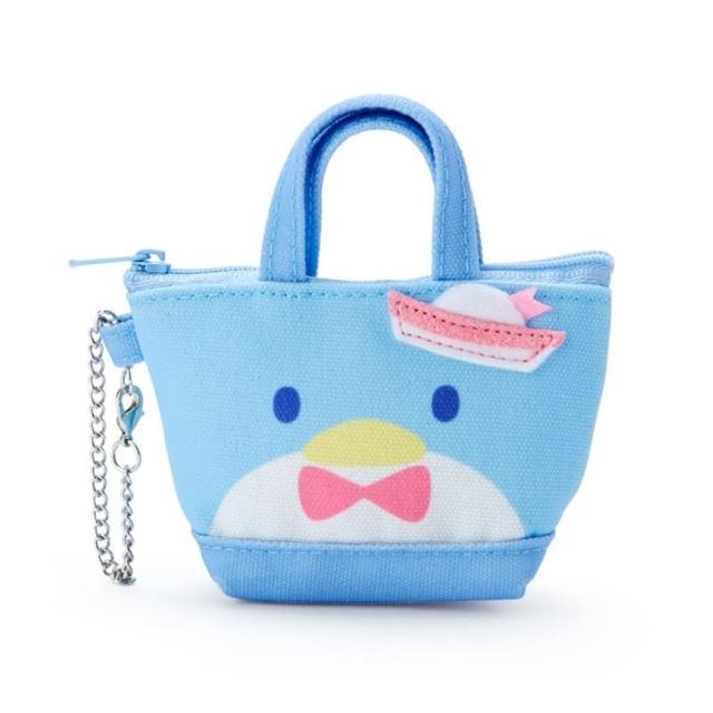 小禮堂【小禮堂】山姆企鵝 造型帆布零錢包 手提零錢包 掛飾零錢包 鑰匙包 《藍 手提袋》