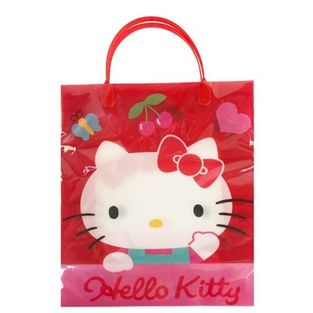 【小禮堂】Hello Kitty 直式方形透明手提袋 禮物提袋 包裝提袋 禮品袋 《紅 招手》
