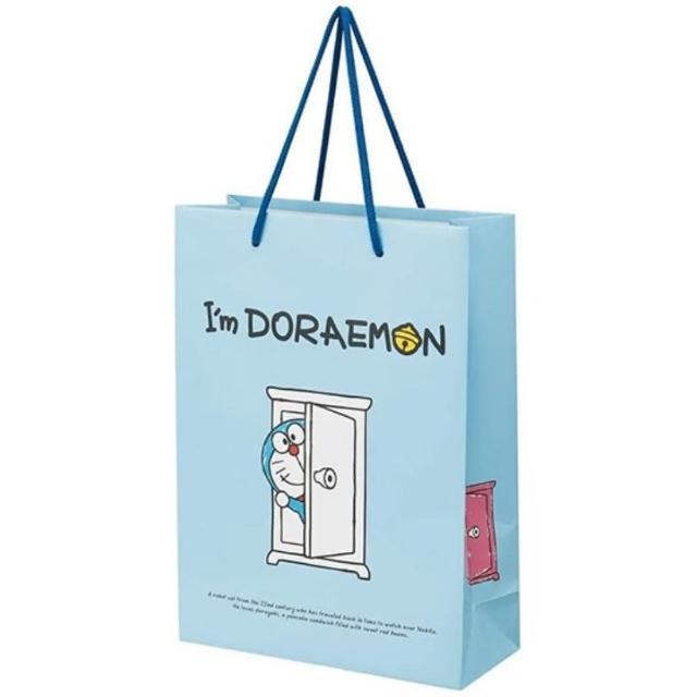 【小禮堂】哆啦A夢 直式方形手提紙袋 大提袋 禮物紙袋 包裝紙袋 禮品袋 《藍 任意門》