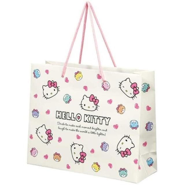【小禮堂】Hello Ktity 橫式方形手提紙袋 中提袋 禮物紙袋 包裝紙袋 禮品袋 《米 彩色熊》
