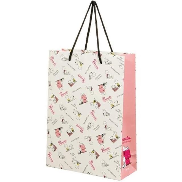 【小禮堂】史努比 直式方形手提紙袋 大提袋 禮物紙袋 包裝紙袋 禮品袋 《米 文字》