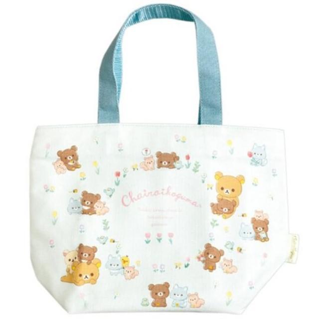 【小禮堂】懶懶熊 船形帆布保冷便當袋 保冷提袋 保溫袋 野餐袋 托特包 《藍 鬱金香》