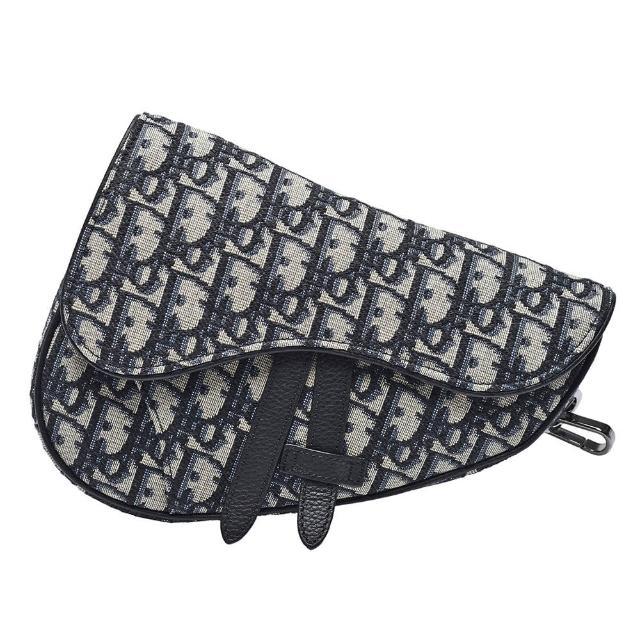 【Dior 迪奧】經典SADDLE系列Oblique提花帆布馬鞍包(迷你-黑1ADPO191YKY_H27E)