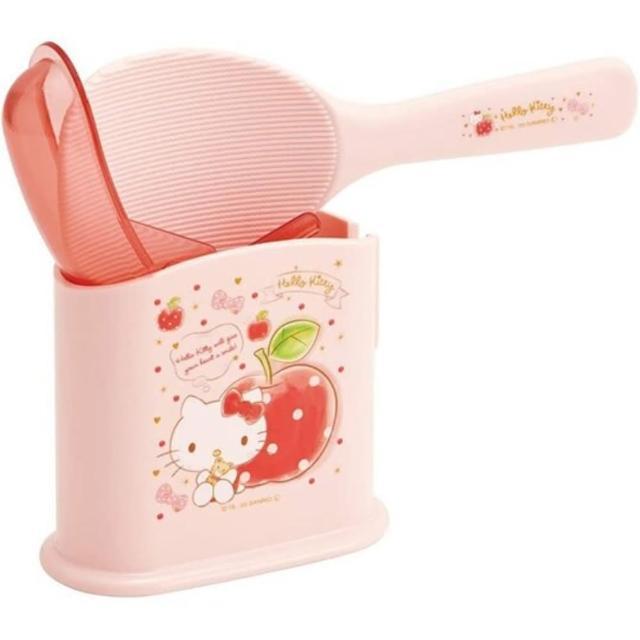 【小禮堂】Hello Kitty 日製 塑膠飯匙 附盒 飯勺 挖匙 餐具盒 《粉 蘋果》