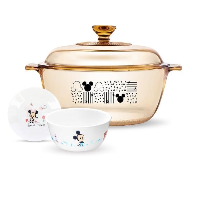 【CorelleBrands 康寧餐具】塗鴉米奇4L晶鑽透明鍋餐廚組