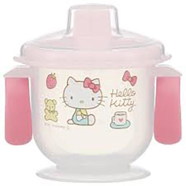 【小禮堂】Hello Kitty 幼兒直飲雙耳學習杯 塑膠學習杯 直飲水杯 兒童水壺 180ml 《粉 蘋果》