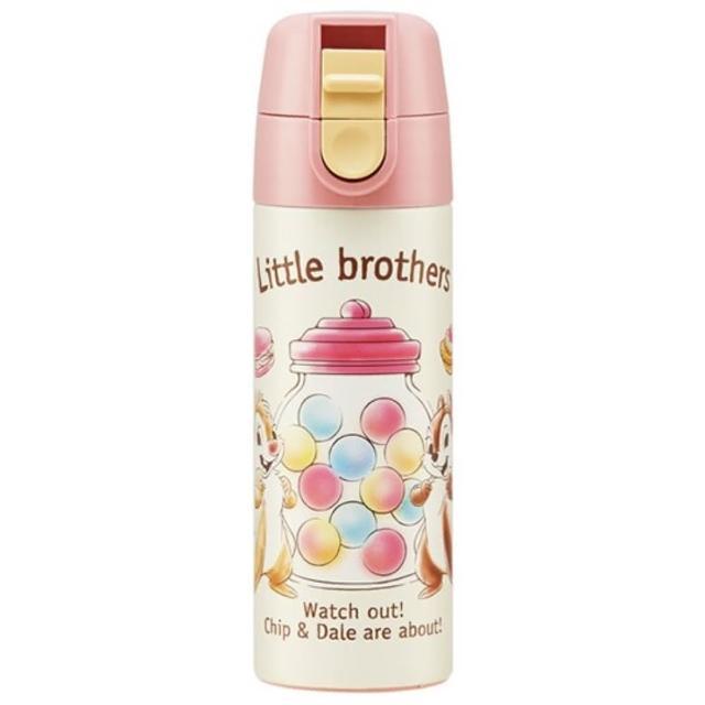 【小禮堂】迪士尼 奇奇蒂蒂 迷你彈蓋不鏽鋼保溫瓶 不鏽鋼水瓶 兒童水壺 隨身瓶 140ml 《黃粉 糖果》