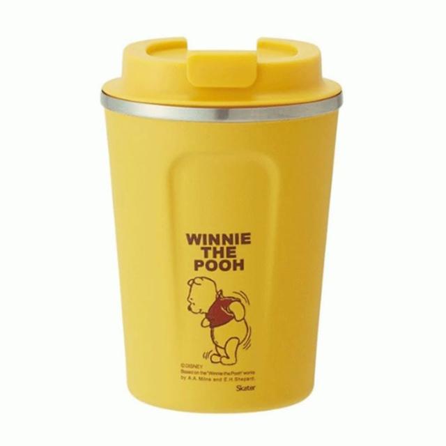 【小禮堂】迪士尼 小熊維尼 不鏽鋼隨行杯 不鏽鋼隨手瓶 咖啡杯 保溫杯 350ml 《黃 晃動》