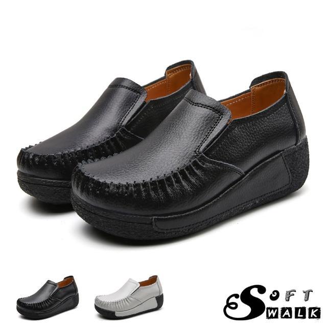 【SOFT WALK 舒步】真皮樂福鞋 厚底樂福鞋/真皮舒適寬楦手工縫線復古厚底坡跟樂福鞋(4色任選)
