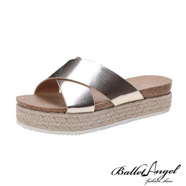 【BalletAngel】涼鞋 簡約交叉厚底楔型涼拖鞋(金)