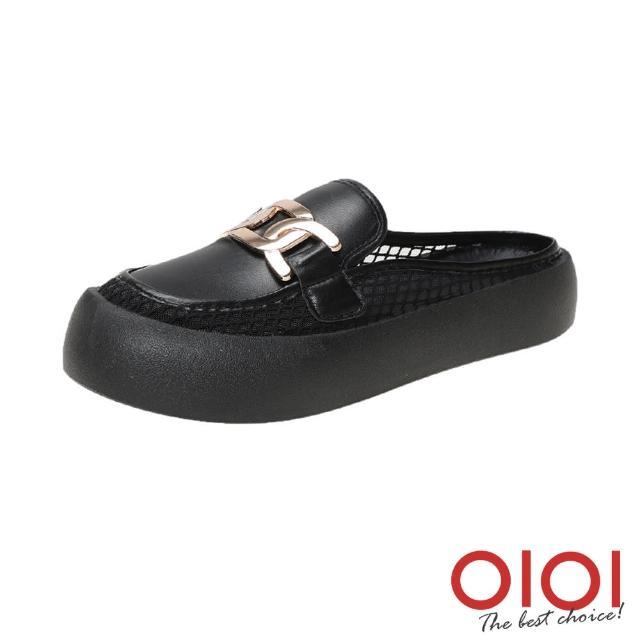 【0101】穆勒鞋 金屬飾釦縷空前包後空厚底鞋(黑)