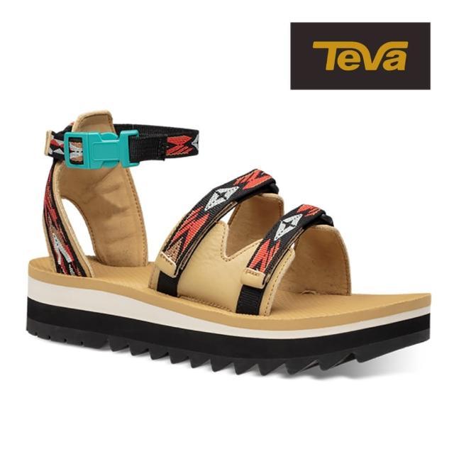 【TEVA】原廠貨 女 Midform Ceres 快扣織帶中底涼鞋/雨鞋/水鞋(雙紅彩鑽-TV1106991DDFR)