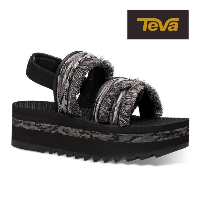 【TEVA】原廠貨 女 Flatform Ceres 流蘇織帶厚底涼鞋/雨鞋/水鞋(雙黑彩鑽-TV1106851DDBC)