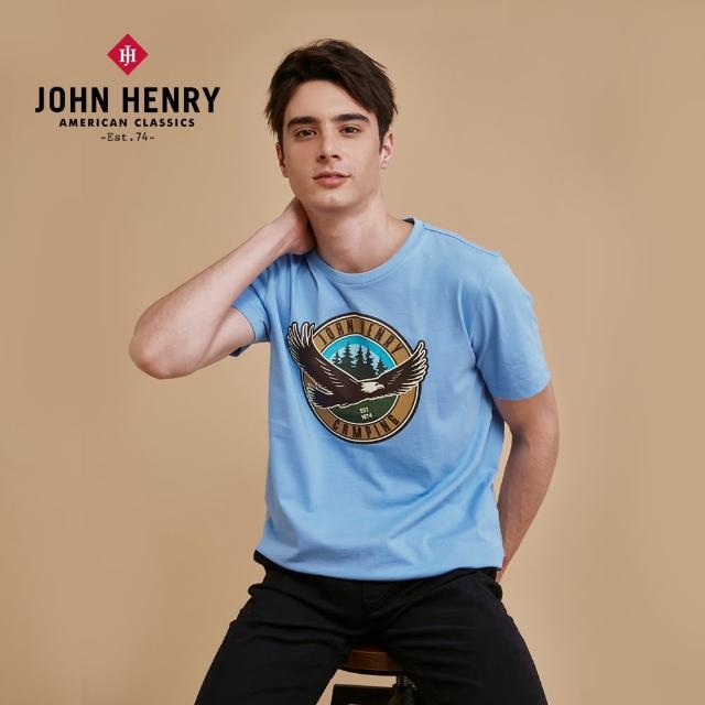【JOHN HENRY】飛鷹印圖短袖T恤-淺藍