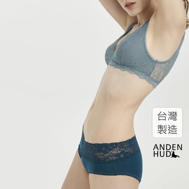 Anden Hud【Anden Hud】簡約系列.V蕾絲中腰三角內褲(深藍綠)