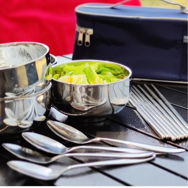 【May shop】家庭旅行露營必備雙層加厚隔熱不銹鋼一組4套餐具組