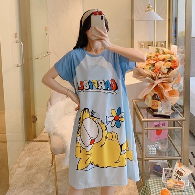 【Wonderland】睡衣 慵懶貓牛奶絲休閒睡裙