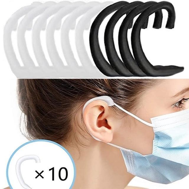 【Emi 艾迷】口罩防痛神器柔軟矽膠套10入(黑白色系共5對)