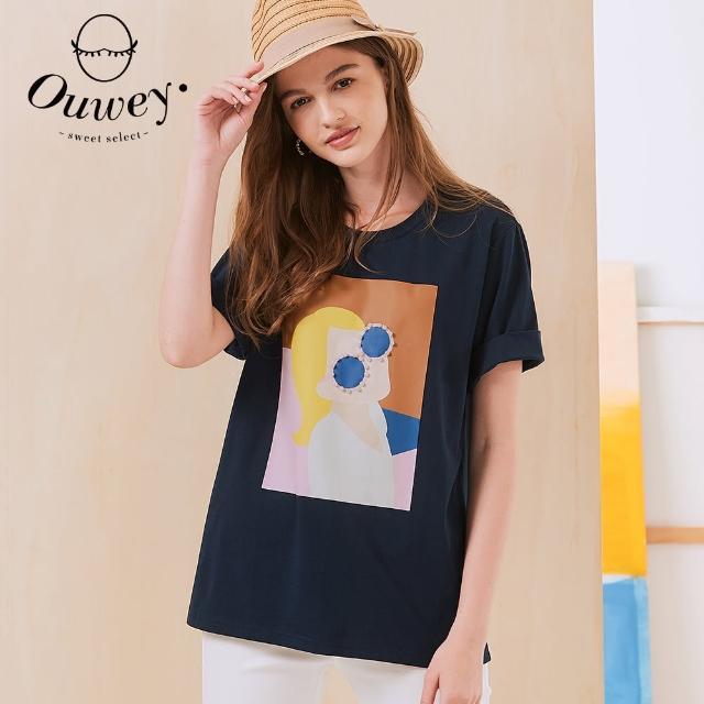 【OUWEY 歐薇】彈性時尚女孩燙印畫棉質上衣3212161237(深藍)