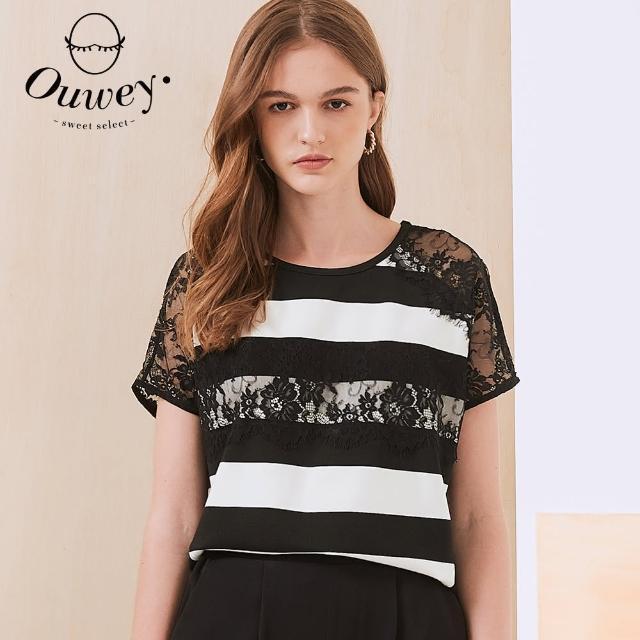 【OUWEY 歐薇】彈性睫毛蕾絲條紋繭型上衣3212161639(黑)