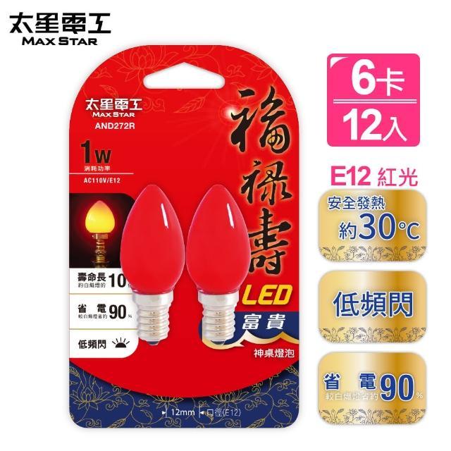 【太星電工】福祿壽LED富貴神明燈泡E12/1W/紅光/2入(6卡)