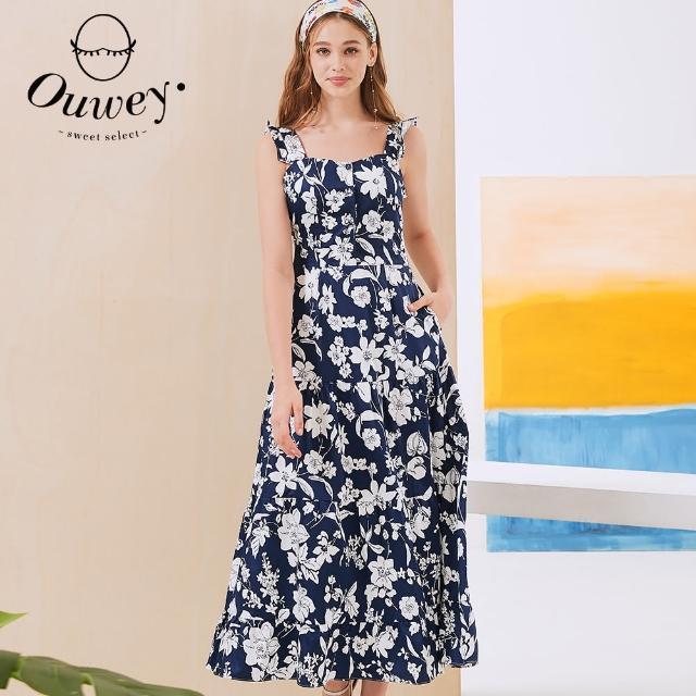 【OUWEY 歐薇】花朵印花荷葉背心袖蛋糕洋裝3212437407(深藍)