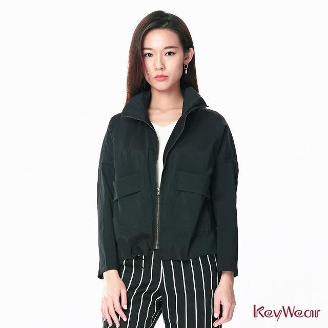 【KeyWear 奇威名品】立體口袋設計獨特面料休閒長袖外套