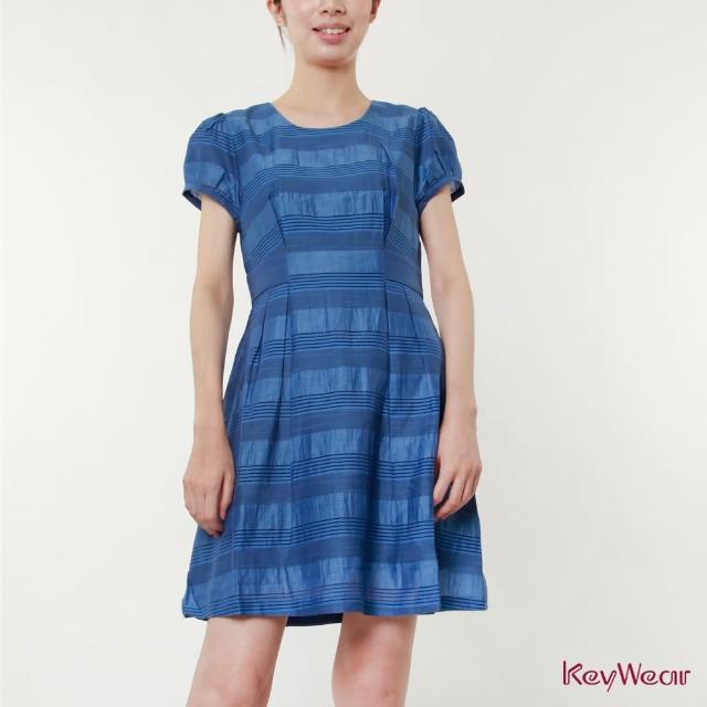 【KeyWear 奇威名品】輕盈舒適海洋風麻料混紡短袖洋裝