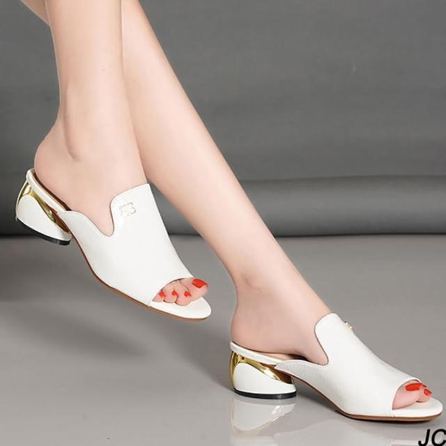 【JC Collection】牛皮精緻壓紋質感五金配飾高雅華麗中低跟涼拖鞋(黑色、白色)