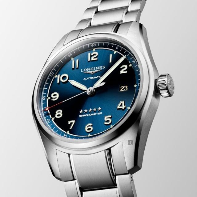【LONGINES 浪琴】Spirit 先行者系列飛行員機械錶-銀x藍/40mm(L38104936)