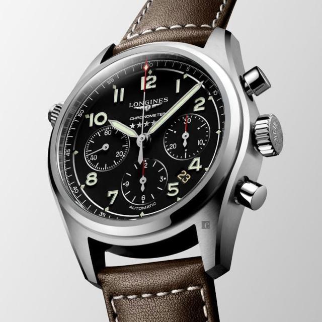 【LONGINES 浪琴】Spirit 先行者系列飛行員計時機械錶-黑X咖啡/42mm(L38204530)