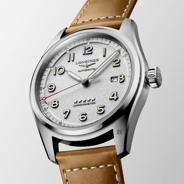【LONGINES 浪琴】Spirit 先行者系列飛行員機械錶-銀x咖啡/42mm(L38114732)