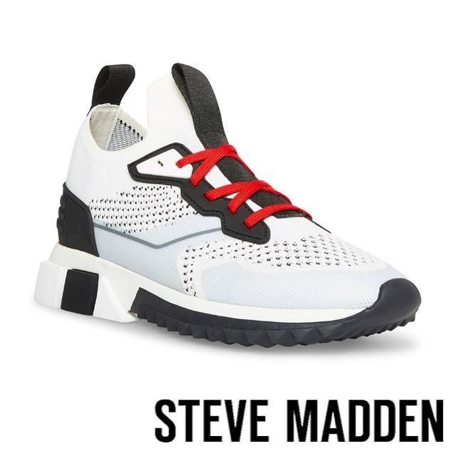 【STEVE MADDEN】DRIBBLE 拼接網布休閒鞋(拼接白)