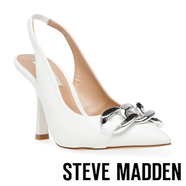 【STEVE MADDEN】JAZZILY 銀飾尖頭繞踝高跟鞋(白色)