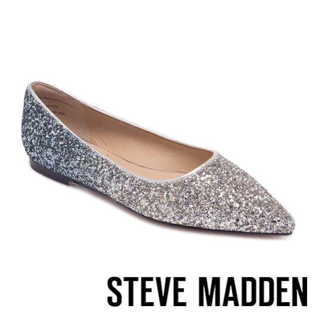 【STEVE MADDEN】COERCE 閃耀漸層尖頭平底鞋(銀色)
