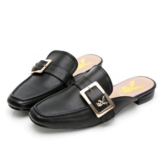 【PLAYBOY】玩美小時光 文青步調大方釦穆勒鞋-黑-YD7320CC