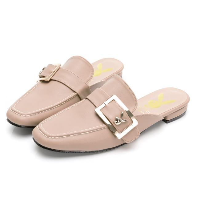【PLAYBOY】玩美小時光 文青步調大方釦穆勒鞋-卡其-YD7320KI