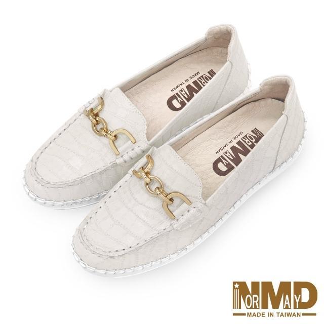 【Normady 諾曼地】女鞋 休閒鞋 懶人鞋 樂福鞋 MIT台灣製 真皮鞋 鍊條款磁力厚底氣墊球囊鞋(香草杏)