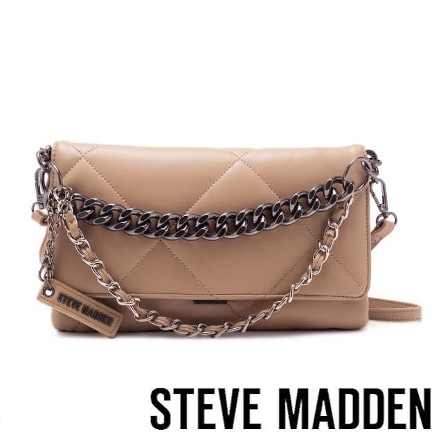 【STEVE MADDEN】BCOBBLE 拼接紋金鍊信封包(棕色)