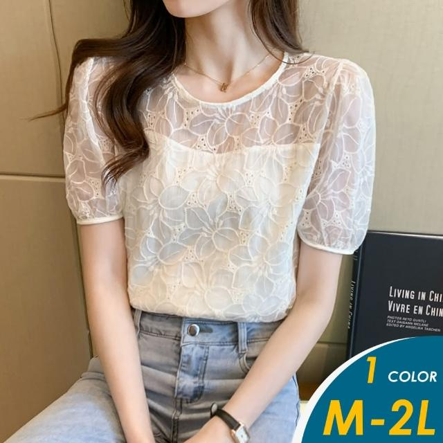 【CHACO】/預購/ 韓系甜美花朵刺繡泡泡短袖衫白色上衣#629(偏小版)