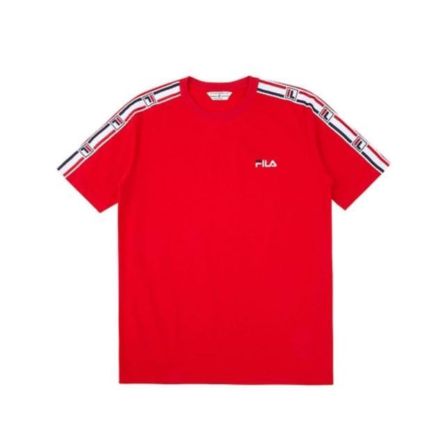 【FILA】男款紅色短袖圓領T恤NO.1TEV-1417-RD