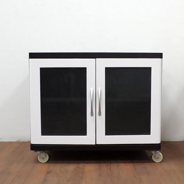 【職人家居】黑白雙玻璃門櫃 1114(置物櫃 收納櫃 儲物櫃 餐廚櫃)